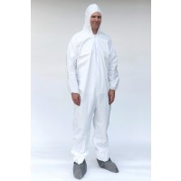 Coverall, Zipper Front with Hood, Boot, Elastic Wrists, White