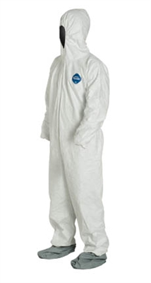 DuPont™ Tyvek® Coverall. Comfort Fit Design. Respirator Fit Hood. Elastic Wrists. Attached Skid-Resistant Boots. Elastic Waist. Serged Seams. White. 122s
