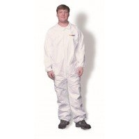 Clean All Products White Tyvek Coveralls, Zipper Front, 25/cs -Large