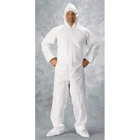 Clean All Products White Tyvek Coveralls, Zipper Front, Hood, Boots, Large - Each