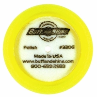 "Buff N Shine 3"" X 1"" Yellow Foam Domed Face Compounding Grip Buffing Pad, 2 pack"