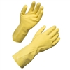 "17mil 12"" Flock Lined yellow Latex Large Gloves, pack of 12"