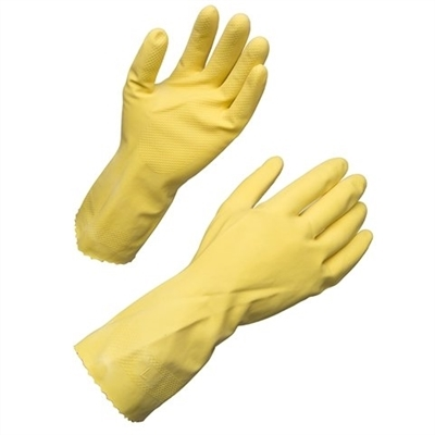 "17mil 12"" Flock Lined yellow Latex Medium Gloves, pack of 12"