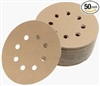 "5"" Grip Gold, 8 Hole Vacuum Disc, Assorted 80, 100, 120, 150, 220, 10 Each"