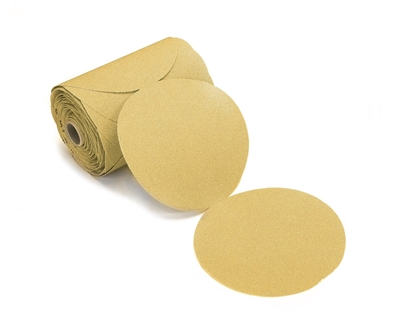 "Mirka Gold Bull Dog 6"" Alum Oxide PSA Abrasive Disc 400 Grit, 100 discs - Linked Roll"