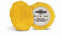 "Buff N Shine 3"" x .5"" pile Wool Blend 4Ply Twist Grip Polishing/Finishing Pad - Yellow, 2 pack"